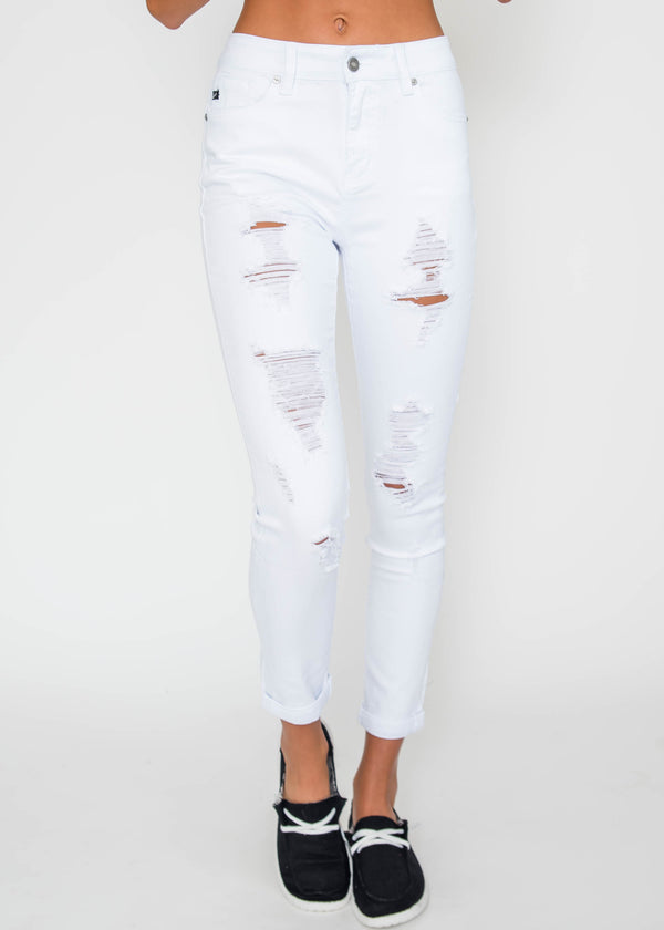 High Rise Distressed Ankle Skinny Jeans | KAN CAN, CLOTHING, KAN CAN, BAD HABIT BOUTIQUE