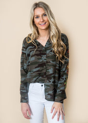 camouflage embroidered sleeve button up blouse women
