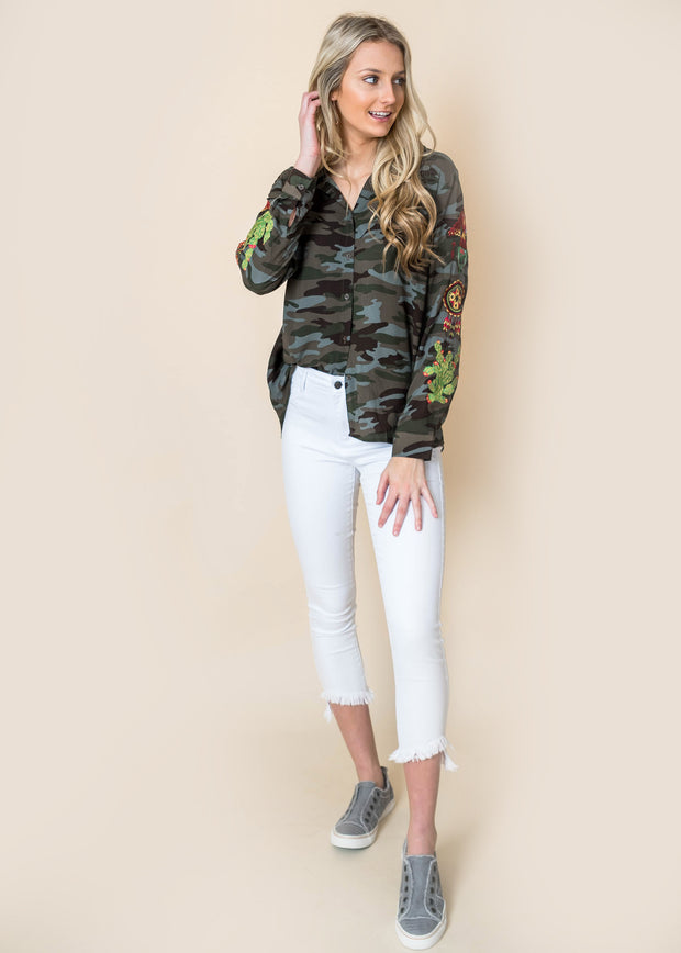 Embroidered  Camouflage Button Up | FINAL SALE, CLOTHING, andree by unit, BAD HABIT BOUTIQUE