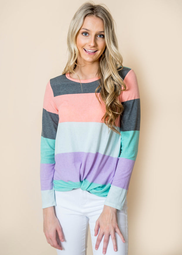Striped twist long sleeve top women