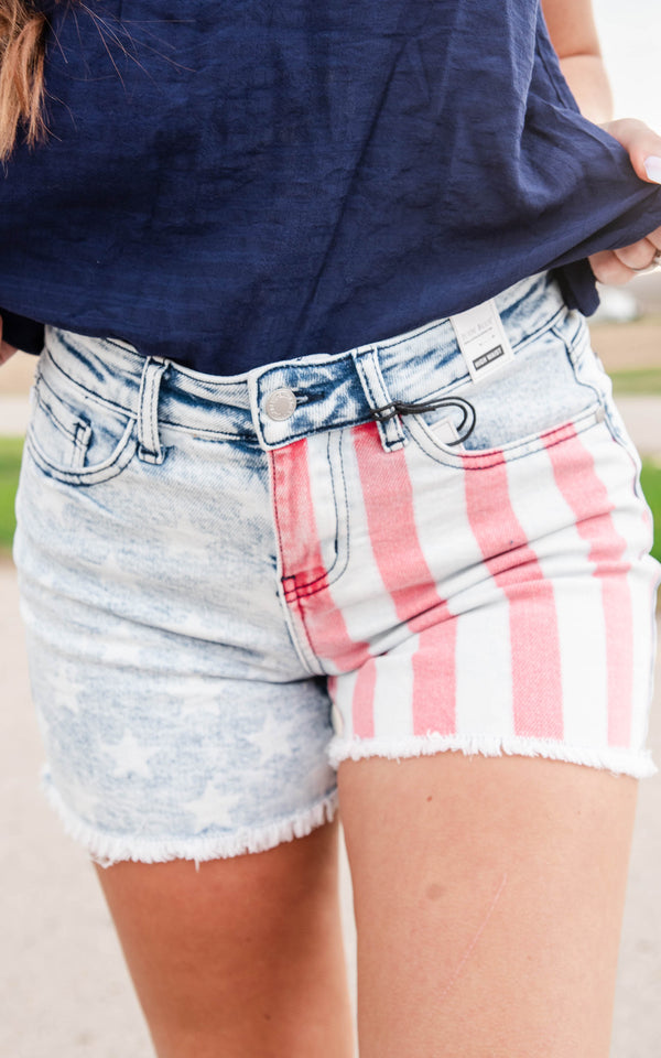 judy blue red white blue shorts