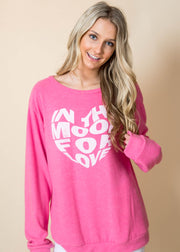in the mood for love oversized long sleeve graphic pink