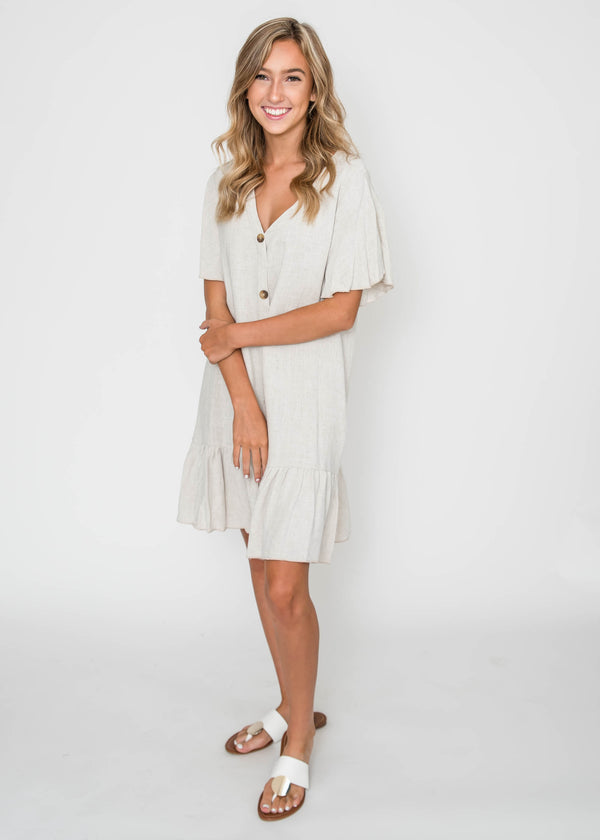 Gloria Linen Ruffle Dress | FINAL SALE, CLOTHING, Lovely Melody, BAD HABIT BOUTIQUE
