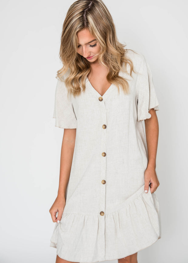 Gloria Linen Ruffle Dress, CLOTHING, Lovely Melody, BAD HABIT BOUTIQUE