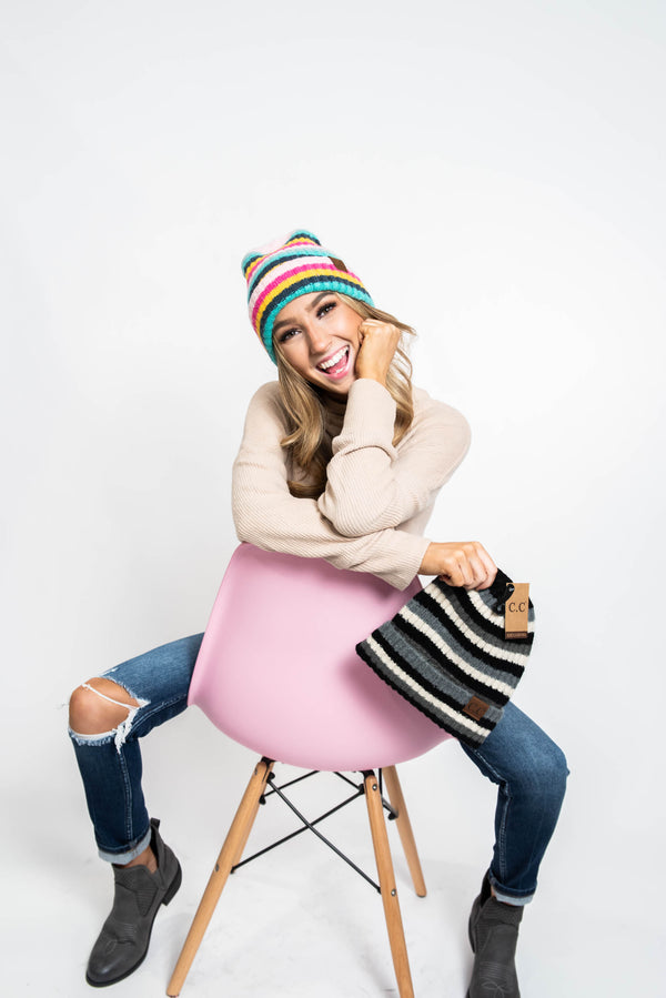 Pink Friday - C.C. Candy Stripe Beanie, CLOTHING, Suzie Q USA, BAD HABIT BOUTIQUE