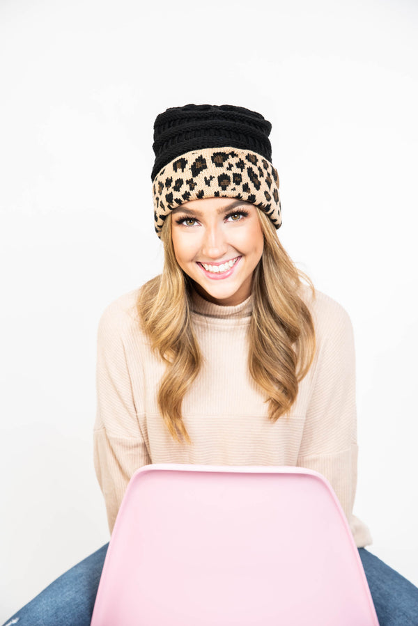 30 Days 30 Deals- C.C. Leopard Cuff Beanie, CLOTHING, Suzie Q USA, BAD HABIT BOUTIQUE