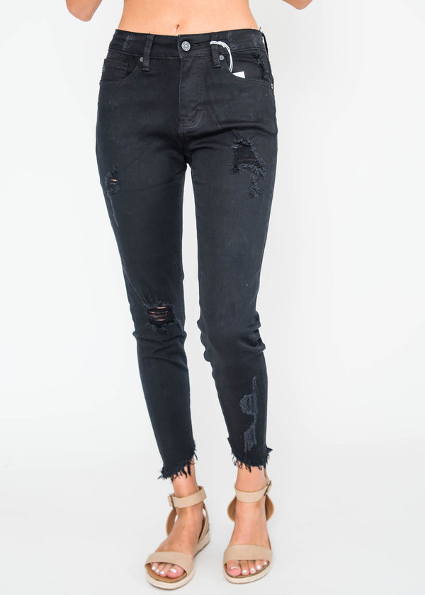 Black Distressed Skinny Jeans | KAN CAN, CLOTHING, KAN CAN, BAD HABIT BOUTIQUE