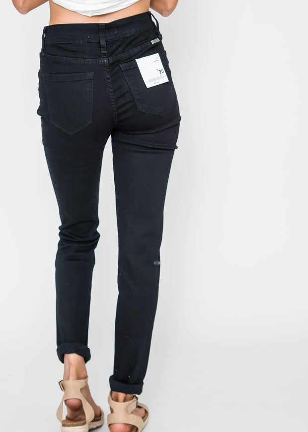 Black Midrise Distressed Skinny Jean | KAN CAN, CLOTHING, KAN CAN, BAD HABIT BOUTIQUE