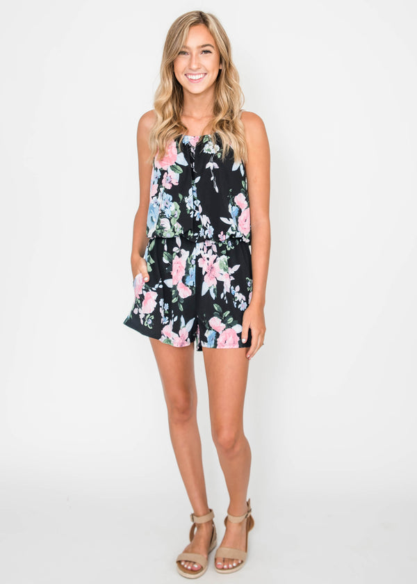 Halter Neck Floral Romper | FINAL SALE, CLOTHING, HEMISIH, BAD HABIT BOUTIQUE
