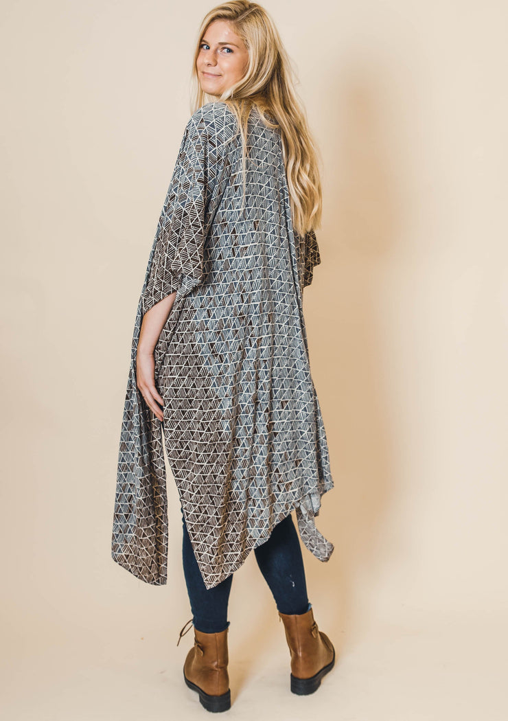 Abstract Duster Kimono Gray Brown