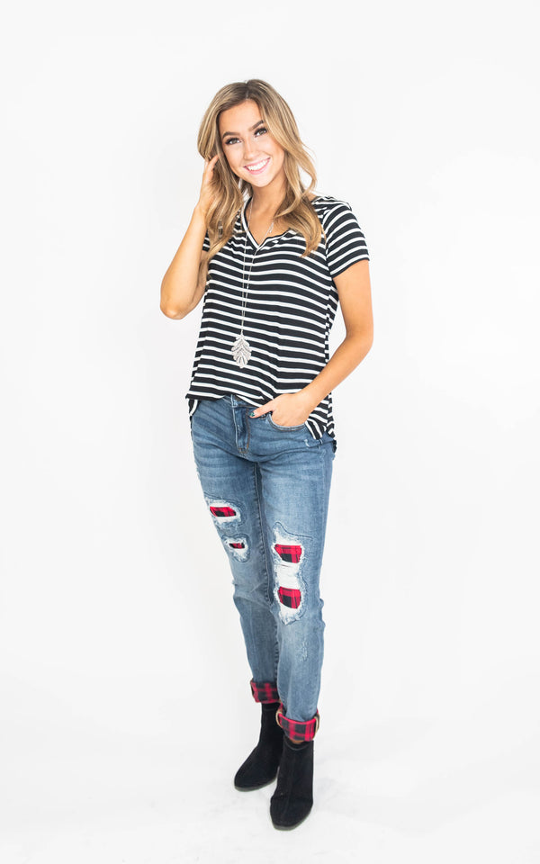 vneck stripe top