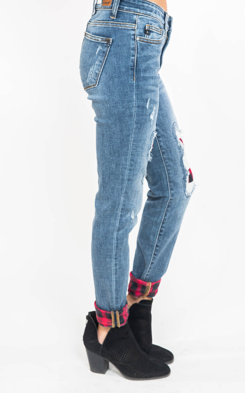 Mid- Rise Skinny Jeans with Buffalo Plaid Patches - Judy Blue, CLOTHING, JUDY BLUE, BAD HABIT BOUTIQUE