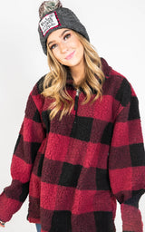 Unisex Sherpa Fleece Quarter-Zip Pullover - Preorder, CLOTHING, SS, BAD HABIT BOUTIQUE
