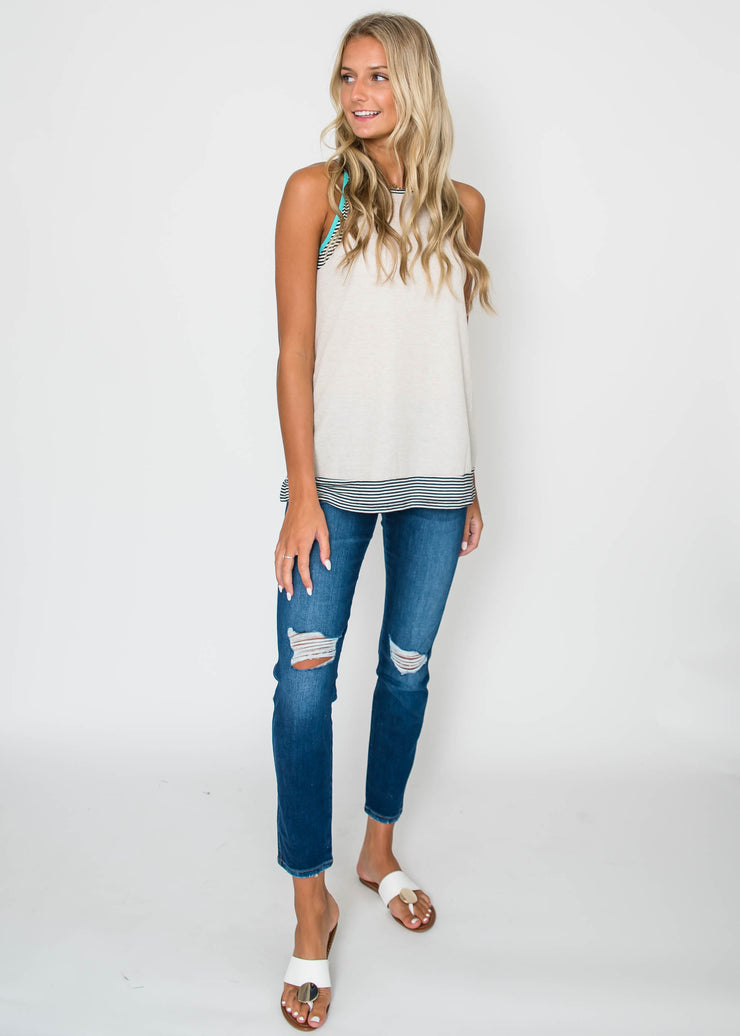 The Maria MidRise Roll Up Distressed Crop | FLYING MONKEY, CLOTHING, FLYING MONKEY, BAD HABIT BOUTIQUE