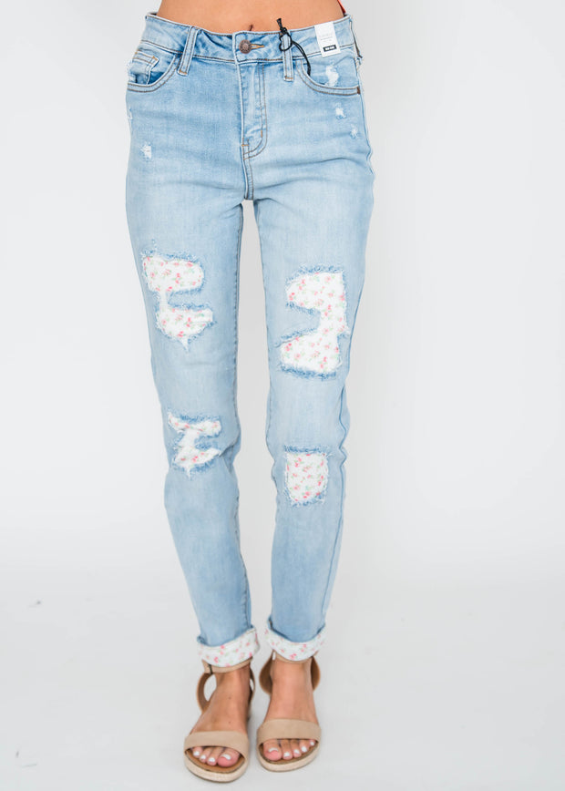 floral patch denim