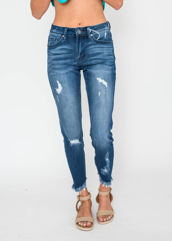 Distressed Denim Skinny Jeans - Kan Can | FINAL SALE, CLOTHING, Kan Can, BAD HABIT BOUTIQUE
