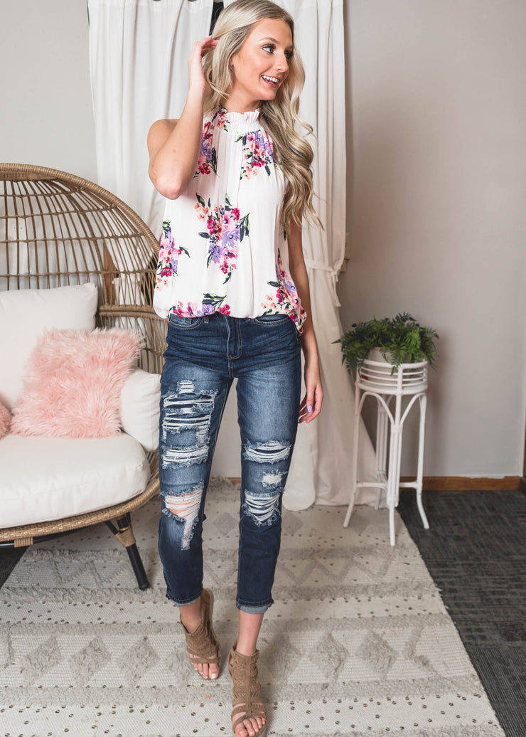 mock floral tank top ivory