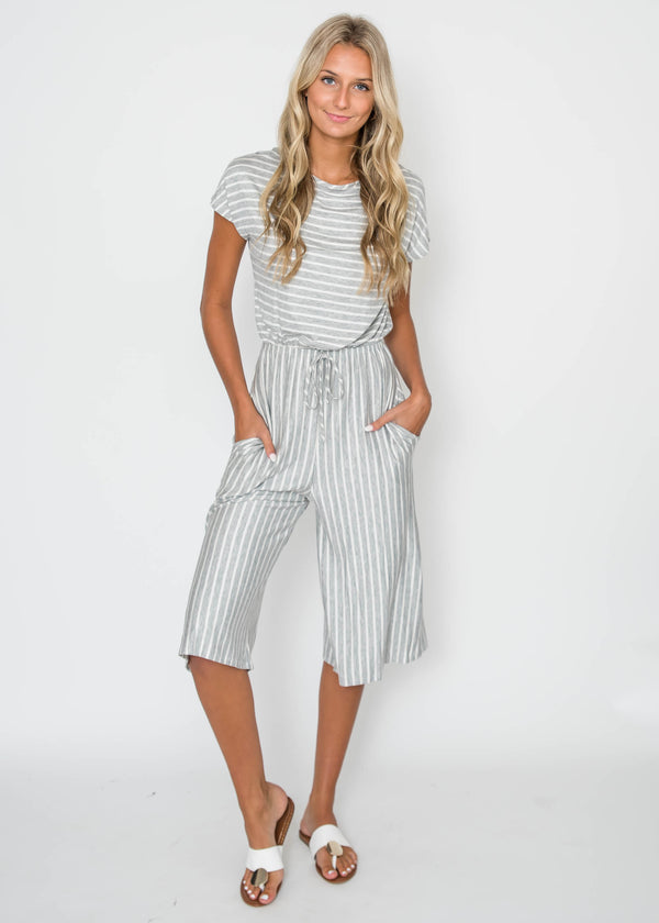 Striped Short Sleeve Capri Romper - Final Sale, CLOTHING, Lovely Melody, BAD HABIT BOUTIQUE