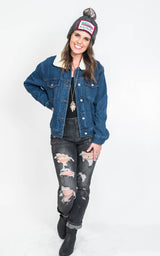 Fleece Collar Denim Jacket, CLOTHING, 12 pm by mon ami, BAD HABIT BOUTIQUE