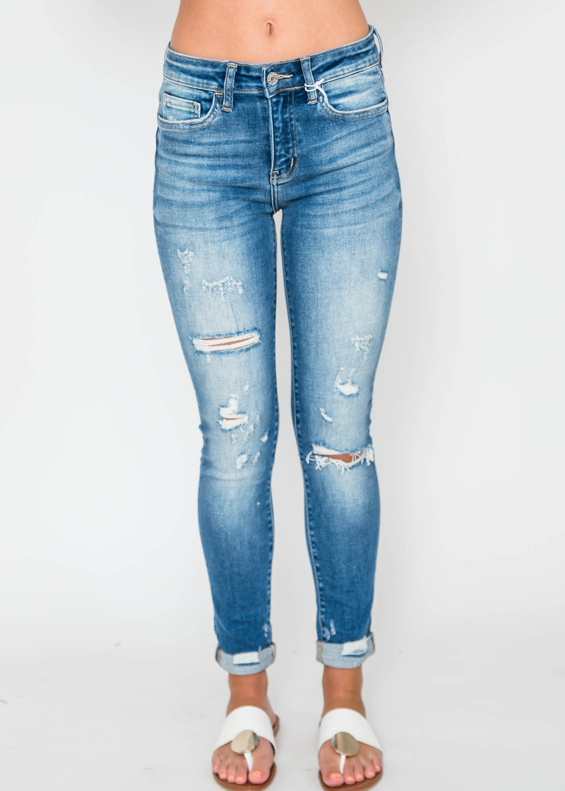 The Liz Midrise Roll Up Distressed Crop Skinny | FLYING MONKEY, CLOTHING, FLYING MONKEY, BAD HABIT BOUTIQUE
