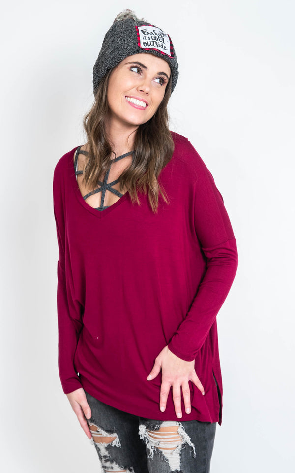 Loose Fit V-Neck Top, CLOTHING, A.Gain, BAD HABIT BOUTIQUE