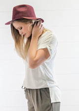 Burgundy Floppy Hat, ACCESSORIES, Olive & Pique, BAD HABIT BOUTIQUE