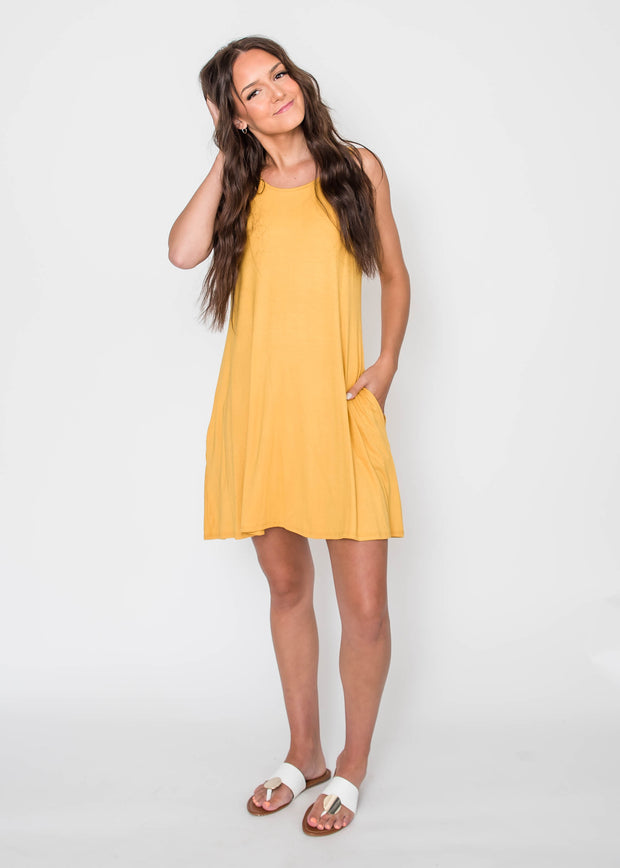 mustard tank dress with pockets