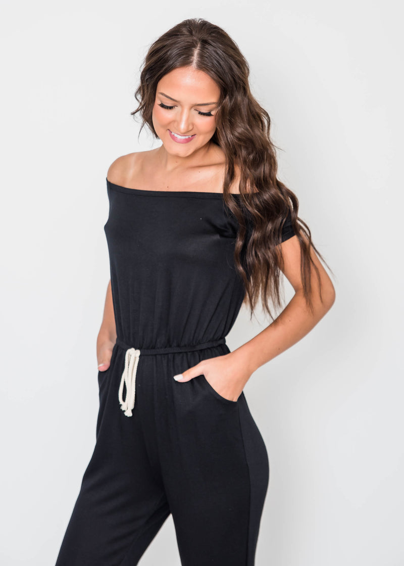 Tessa's French Terry Off the Shoulder Jumpsuit | FINAL SALE, CLOTHING, Lovely Melody, BAD HABIT BOUTIQUE