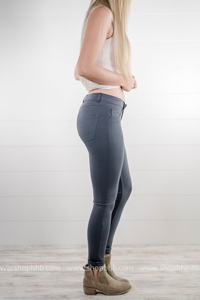 Our grey jeggings are soft and have the perfect stretch