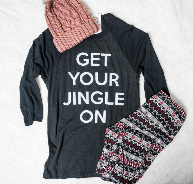 3/4 sleeve top, christmas tops for women, holiday tops for women, get your jingle on, baseball tops
