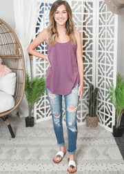Purple scoop neck basic tank