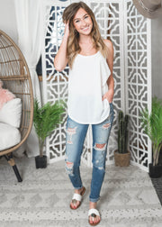 Ivory scoop neck tank top for women
