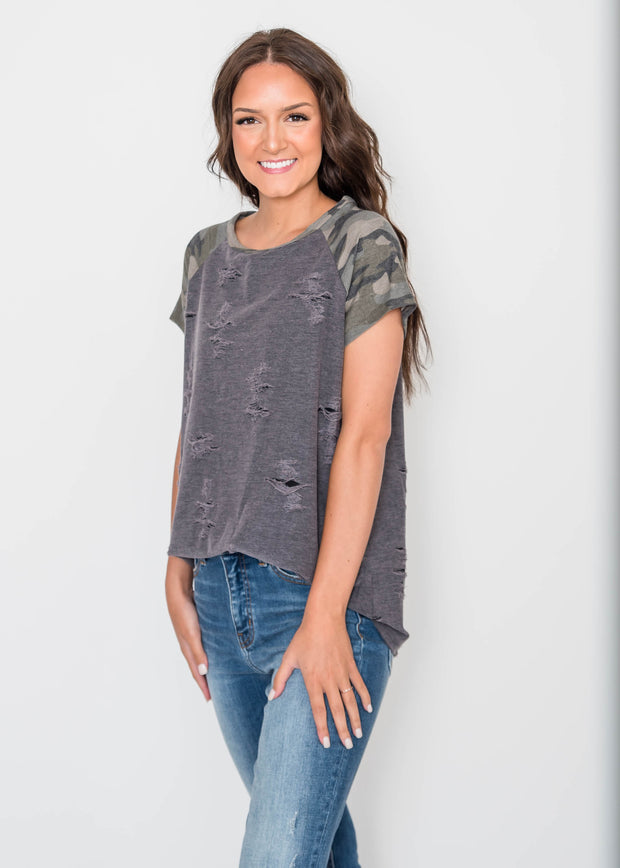 camo distressed top