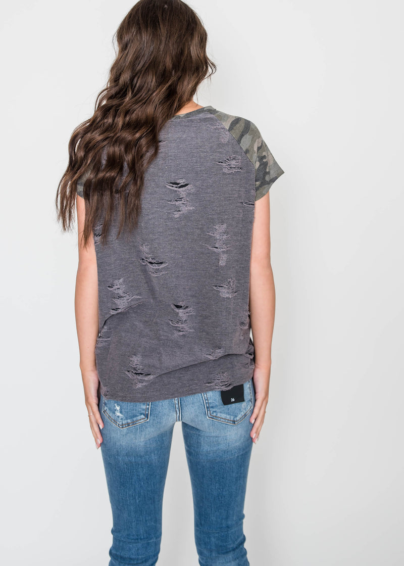 Distressed Camo Baseball Top | FINAL SALE, CLOTHING, Adora, BAD HABIT BOUTIQUE