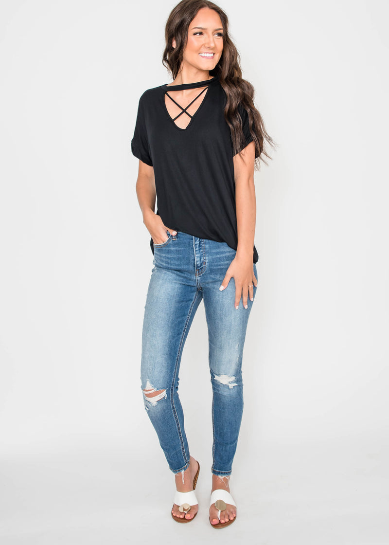 Criss Cross Top  Girl | FINAL SALE, CLOTHING, Lovely Melody, BAD HABIT BOUTIQUE