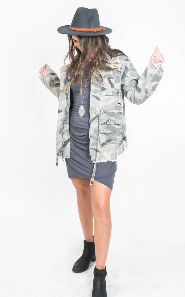 Vintage Camo Zip Up Jacket - POL, CLOTHING, POL, BAD HABIT BOUTIQUE
