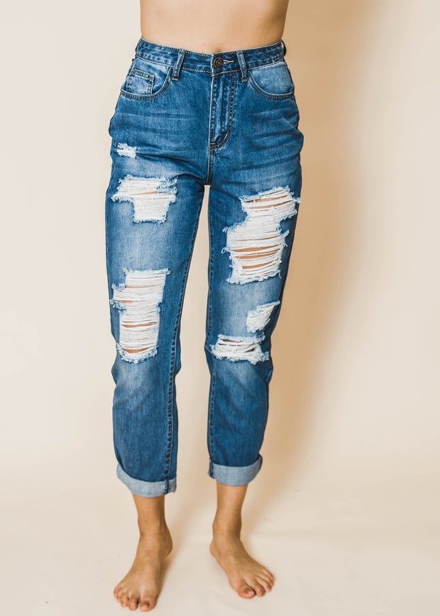 Boyfriend Distressed Jeans- Machine Jeans