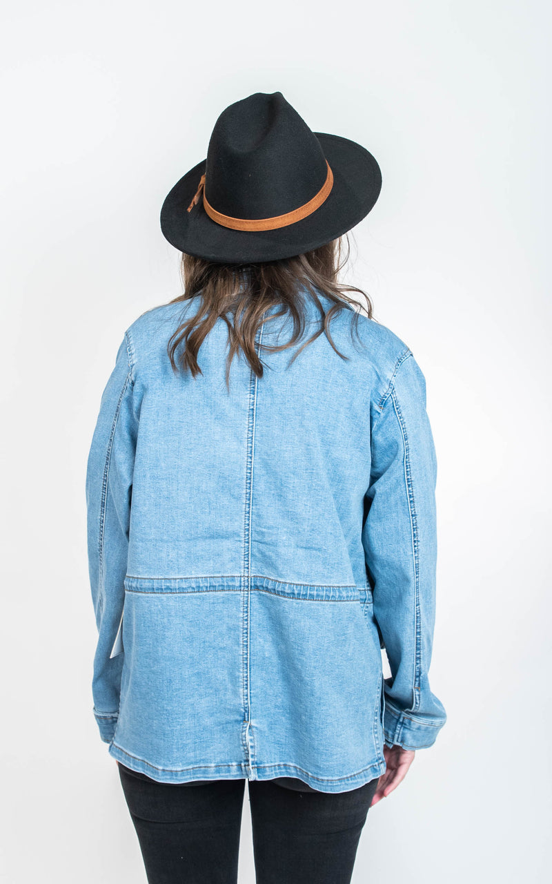 Denim Utility Jacket - Judy Blue, CLOTHING, JUDY BLUE, BAD HABIT BOUTIQUE