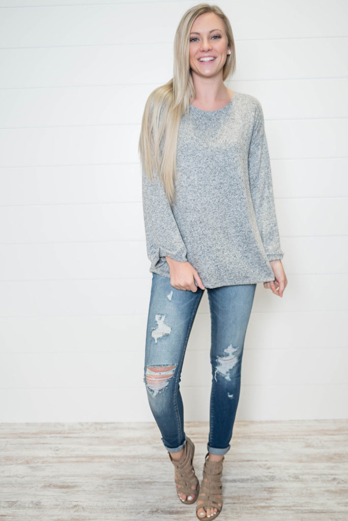 Ever so Soft Top-Heather Gray, TOPS, Vine & Love, badhabitboutique