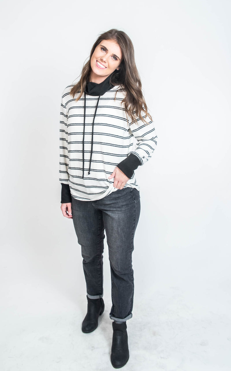 Striped Cowl Neck Sweater- Ginger G, CLOTHING, Ginger G, BAD HABIT BOUTIQUE