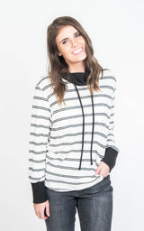 Striped Cowl Neck Sweater- Final Sale, CLOTHING, Ginger G, BAD HABIT BOUTIQUE