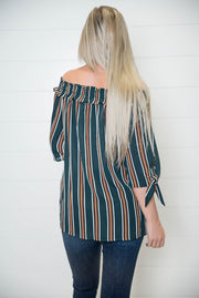 Off the Shoulder Striped Top-Hunter Green