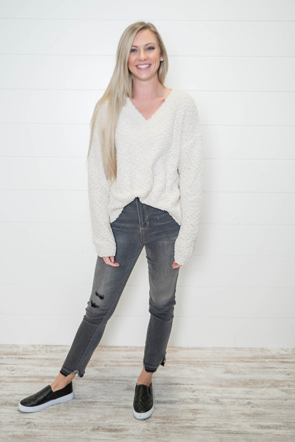 High Rise Crop Distressed Gray Skinny Jeans | Cello - BAD HABIT BOUTIQUE