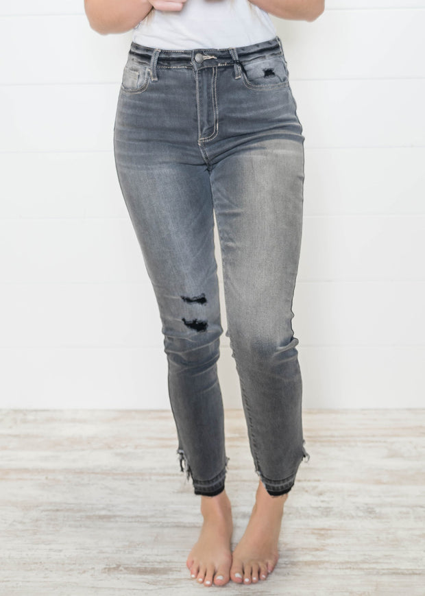 High Rise Crop Distressed Gray Skinny Jeans | Cello, DENIM, CELLO, badhabitboutique