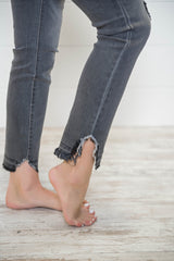 High Rise Crop Distressed Gray Skinny Jeans | Cello, CLOTHING, CELLO, BAD HABIT BOUTIQUE