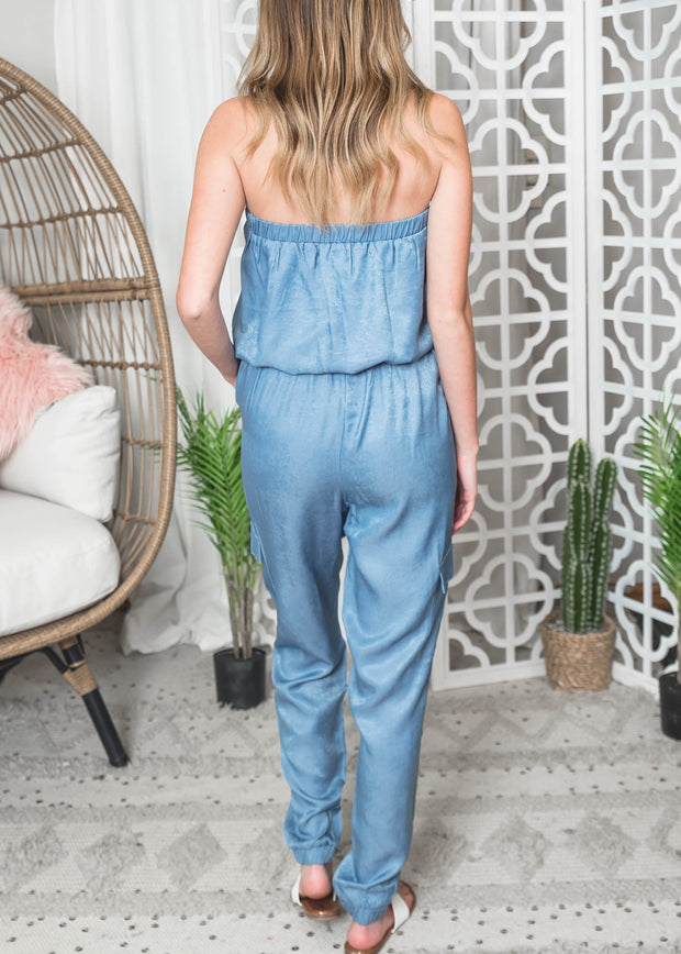 jogger chambray style tube jumpsuit.