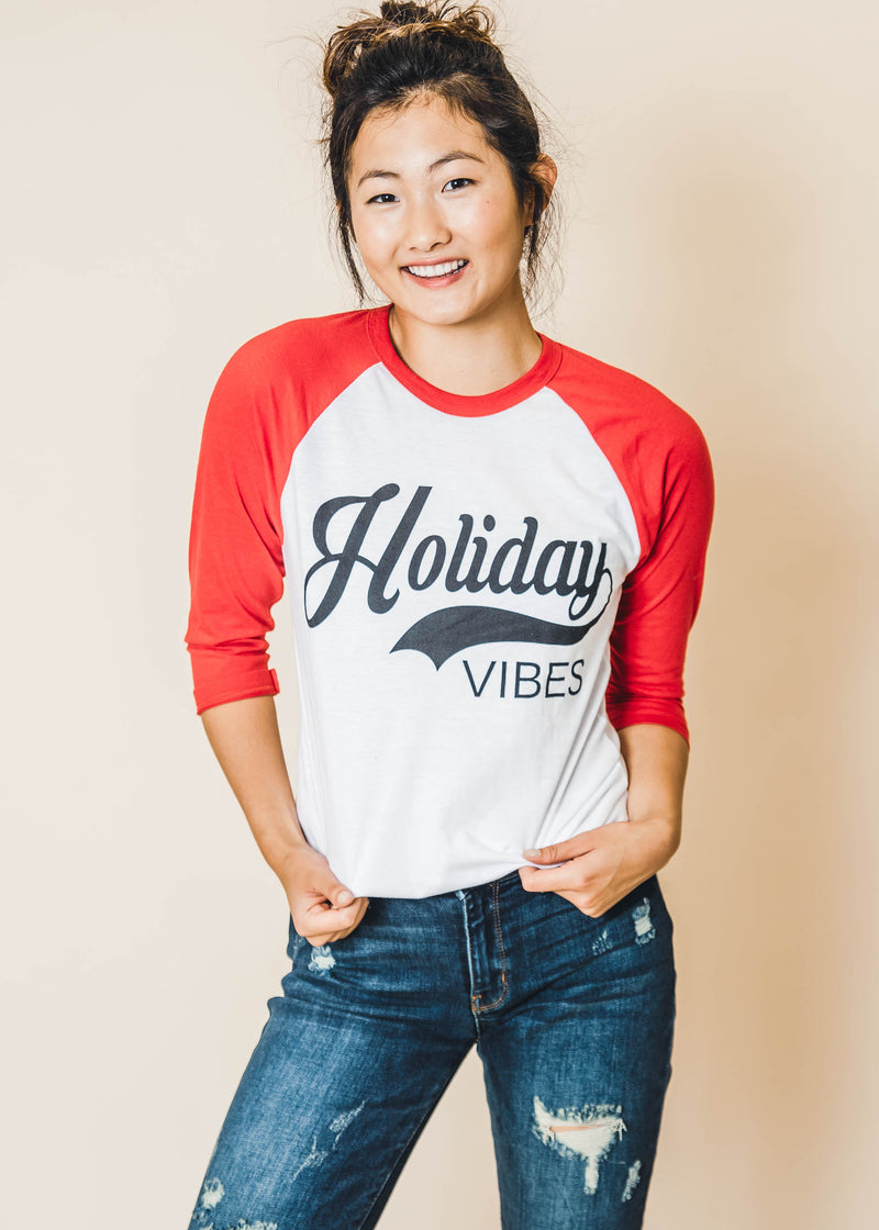 Holiday Vibes Baseball Tee - BAD HABIT BOUTIQUE