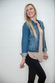 Denim Jacket - Medium Wash, DENIM, CELLO, badhabitboutique