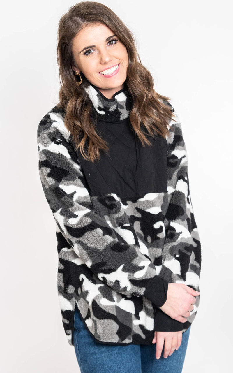 Camo Quilted Fleece Pullover {WHITE BIRCH}, CLOTHING, White Birch, BAD HABIT BOUTIQUE