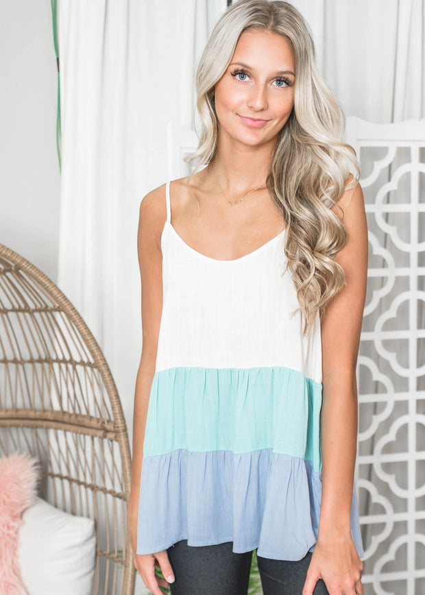 Blue Skies Tank Top, Baby doll tank top, tank top, tank tops, colorblock tank top